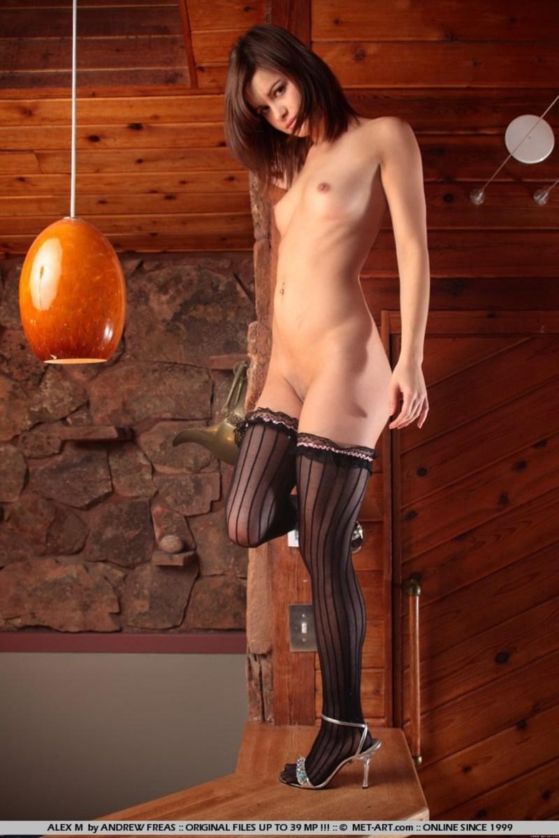 Fajna brunetka z wygoloną cipką (7)