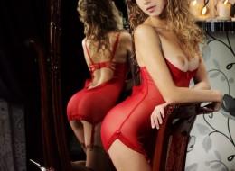 Laska na krześle przed lustrem (9)
